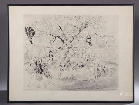 Emilio GRAU-SALA (1911-1975). Le jardin. Gravure en noir signée en bas à droite et numérotée 1/