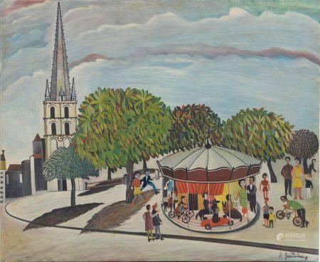 Roland GUILLOTEAU (né en 1931). Le manège. Huile sur toile signée en bas à droite. Haut. : 50 c