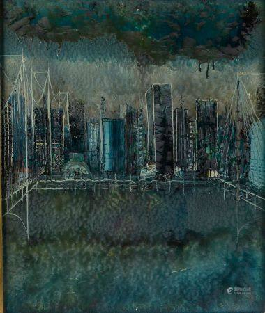 École moderne. Vue de New-York. Huile sur toile signée et datée 1961 au dos. Haut. : 65,5 cm -