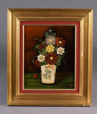 *Germaine MICHELET (XXe siècle). Ensemble de quatorze huiles sur toile :  - Bouquet fli aux