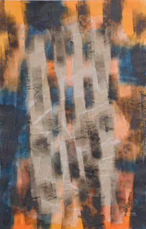 Lise LEBRETEUIL (XXe siècle). Abstraction dans les tons orange et bleus. Technique mixte sur pa