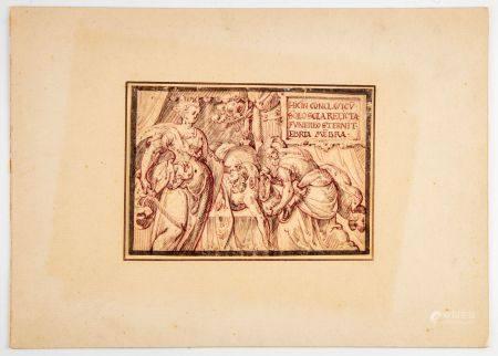 ECOLE ITALIENNE (?) XVIIe Judith tenant la tête d'Holopherne Dessin sur papier en feuille 12,5