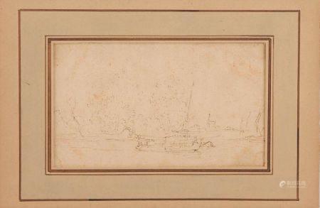 École FLAMANDE du XVIIe Paysage fluvial Plume (en feuille) 9,2 x 14,8 cm