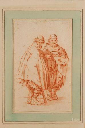 École FLAMANDE du XVIIIe Deux personnages Sanguine (en feuille) 17 x 10,7 cm