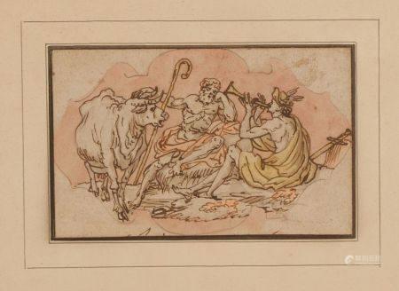 École ITALIENNE du XVIIIe Io et argus Plume, aquarelle (en feuille) 8,6 x 13,5 cm