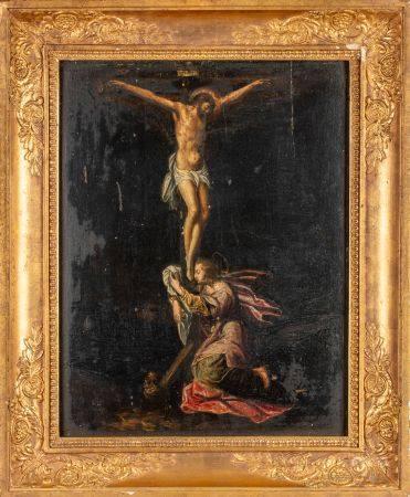 Ecole française du XVIIIe Christ en croix, Marie agenouillée au pied de la croix Huile sur pann