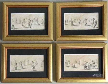 D'après Sébastien LECLERC Etudes de personnages Suite de quatre gravures en noir 7 x 13,5 cm En