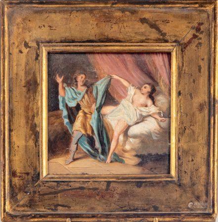 ECOLE FRANCAISE XIXe dans l'esprit de Fragonnard Joseph et la femme de Putiphar  Huile sur Pann