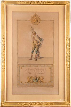 Paire de gravures en couls déssinées par Isabey et Percier issues de la série le Sacre de S.