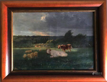 Adrien Gabriel VOISARD MARGERIE (1867-1954) Vaches et mouton au prè Huile sur toile Signée en b