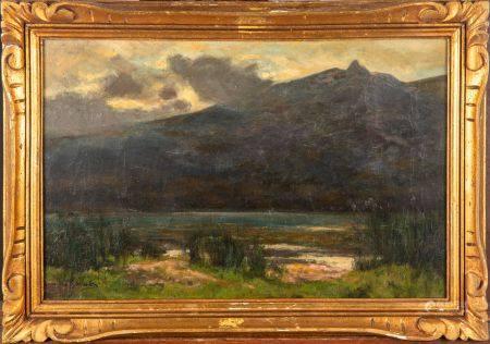 ECOLE FRANCAISE de la fin du XIXe Paysage de bord d'étang Huile sur toile Signé en bas à gauche