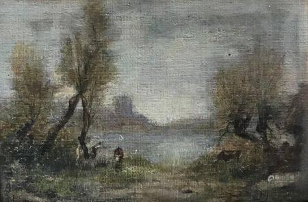 Maurice LÉVIS (1860-940) La vallée inondée - Loir(e) et Cher Huile sur carton Signé en bas à dr