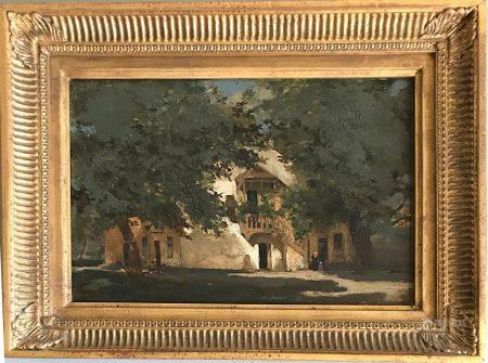 École ETRANGERE (ope de l'Est ?) de la seconde moitié du XIXe L'escalier Huile sur toile 17