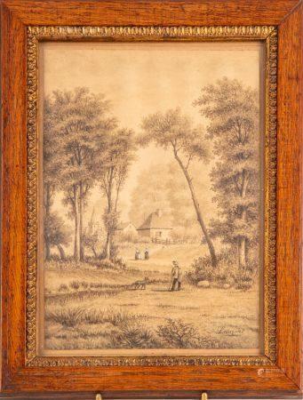 LAURENT - fin du XIXe Paysage au village Dessin 28 x 23 cm Encadré