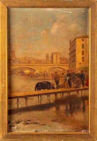 J. GRASSIN - Fin XIXe début XXe Chevaux et villageois au bord d'un canal Huile sur toile 39 x 2