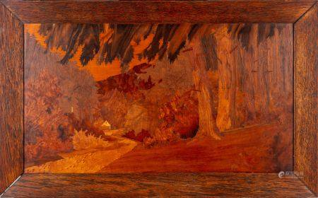 Joseph ou Lucien STRAUB - ECOLE de NANCY début XXe Paysage des Vosges Panneau marqueté Signé en