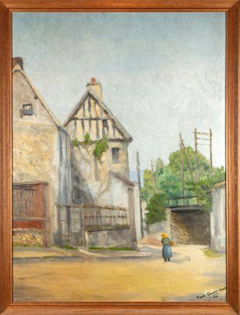 Pierre COURTE- HEUSE - XXe Rue de village avec un pont Huile sur carton  Signé en bas à droite