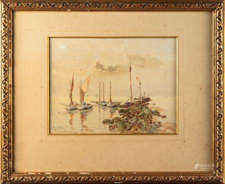 F. ADAM  Plage de Trouville avec bateaux Aquarelle Signé en bas à gauche et daté 1903 Cadre en