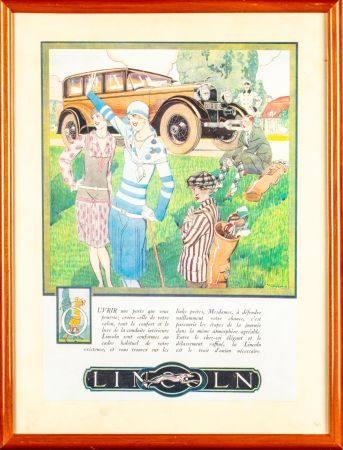 Affiche publicitaire pour les voitures LINCOLN 33,5 x 23,5 cm Encadré