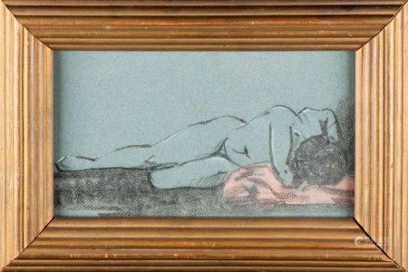 ECOLE FRANCAISE - XXe Nu féminin  Pastel  H. : 15 cm ; L. : 27 cm