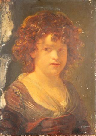 ECOLE XXe d'après le XVIIIe Portrait de jeune femme Huile sur panneau 49 x 35 cm
