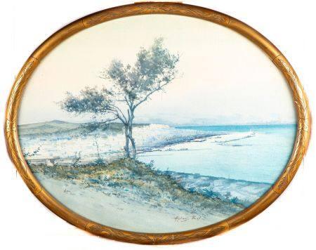 Alphonse RAY (1865-1938) Alger le soir Aquarelle sur papier Cadre ovale en bois doré H. : 44 cm