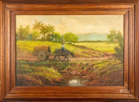 ECOLE COLONIALE début  XXe La charette indochinoise Huile  sur toile Signé en bas à gauche 59 x