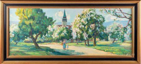 DULAC - milieu du XXe Les pommiers en fls Huile sur toile Signé en bas à droite  40 x 100 cm