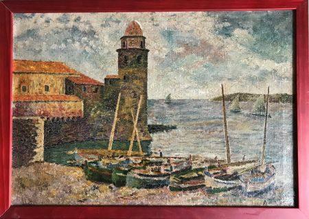 A. DELABY - XXe Bord de mer au donjon pointilliste Huile sur toile Signée en bas à droite 31 x