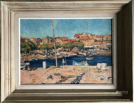 ECOLE FRANCAISE vers 1950 Port de la Méditéranée Huile sur panneau 31 x 44 cm Encadrée
