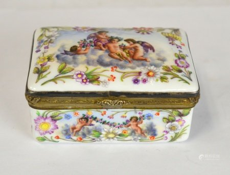 German Porcelain & Silver Erotic Box