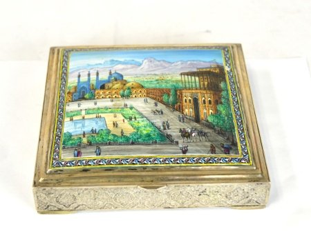 Fine Persian Enamel Painted Silver Box