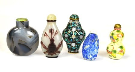 Assorted Five Chinese Snuff Bottles