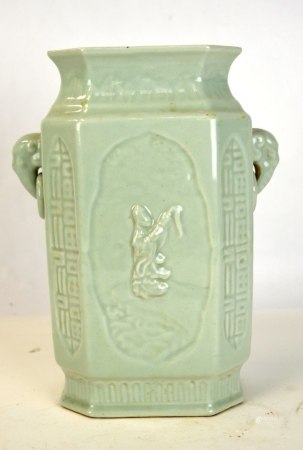 Chinese Celadon Glazed Carved Four Side Vase