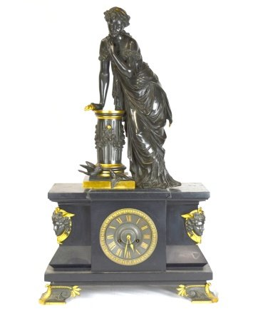 French Bronze Clock & Sculpture
