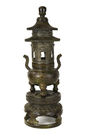 Chinese Bronze Pagoda Censer