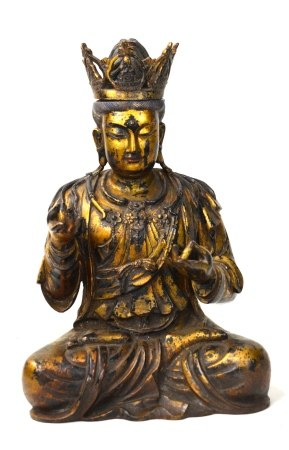 Large Chinese Gilt Bronze Buddha Figure
