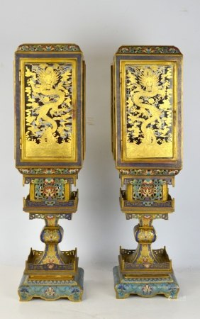 Pr 18th Cen. Chinese Cloisonne Lanterns