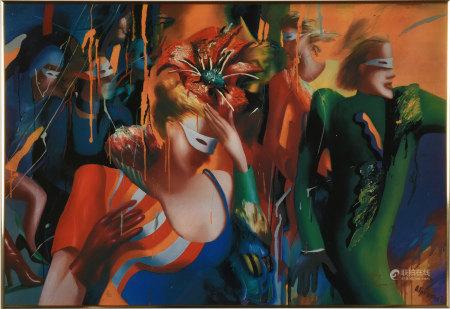 Olga Grechina 假面舞會 版畫