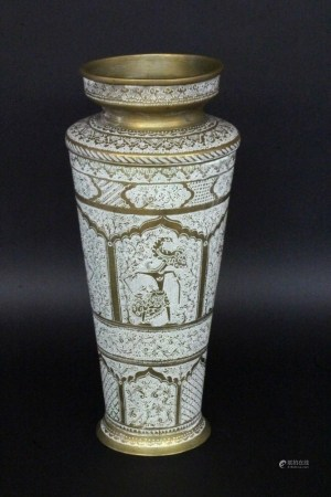 A DECORATIVE VASE probably Bali, 20th century Brass with dove-grey patina and engraved