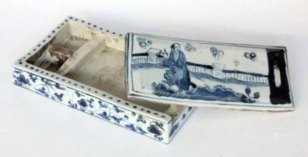 AN INK BOX China Porcelain with blue painting. Six character mark of the Ming Dynasty on