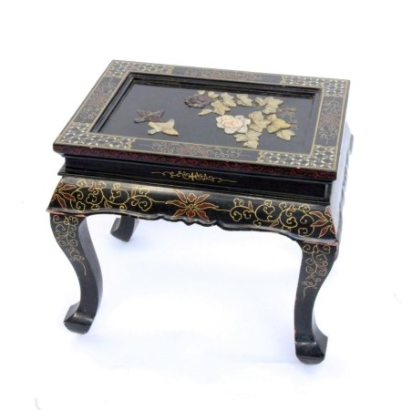 A CHINESE LAQUERED TABLE Side table with attached bird and flower motifs of coloured
