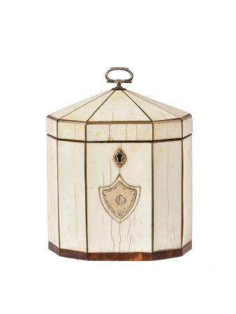 Y A George III ivory octagonal tea caddy