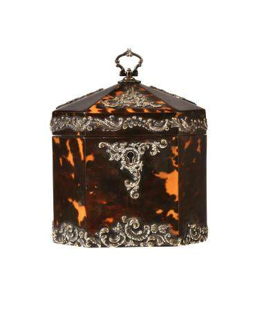 Y A Victorian tortoiseshell and silver octagonal tea caddy
