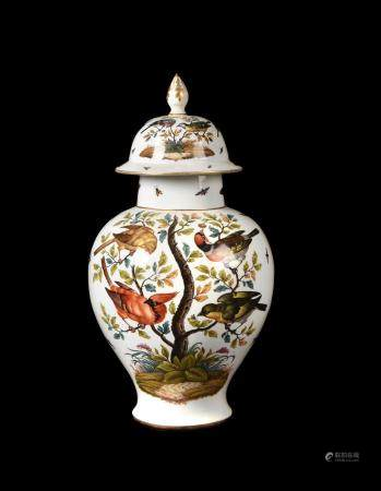 A Dresden porcelain baluster vase and cover