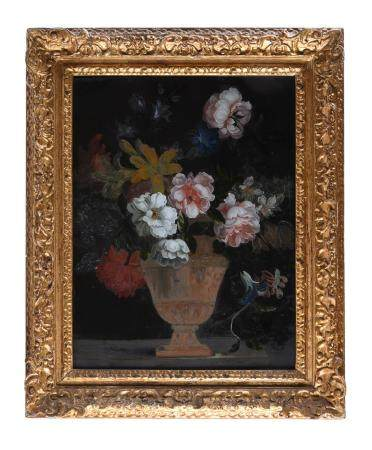 A giltwood and composition framed reverse painted glass picture of a vase of flowers
