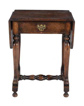 An oak side table in William & Mary style
