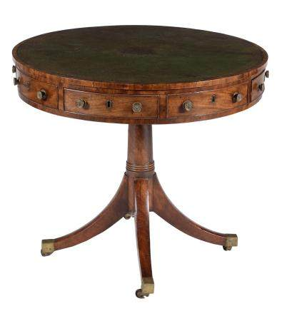 A George III mahogany drum library table