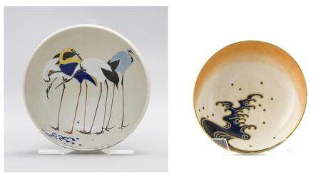 TWO JAPANESE SATSUMA POTTERY BOWLS 1) Circa 1900 Gyozan Satsuma bowl with interior decoration of four standing cranes and exterior d...