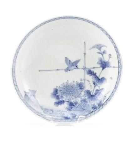 JAPANESE BLUE AND WHITE NABESHIMA PORCELAIN DISH Circa 1700
